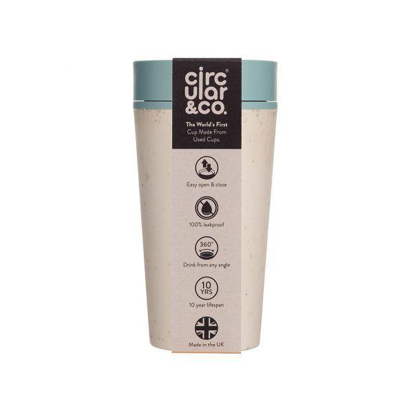 Circular Reusable Coffee Cup cream and blue