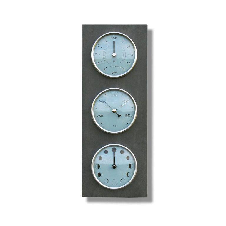 Moon, tide clock and barometer vertical
