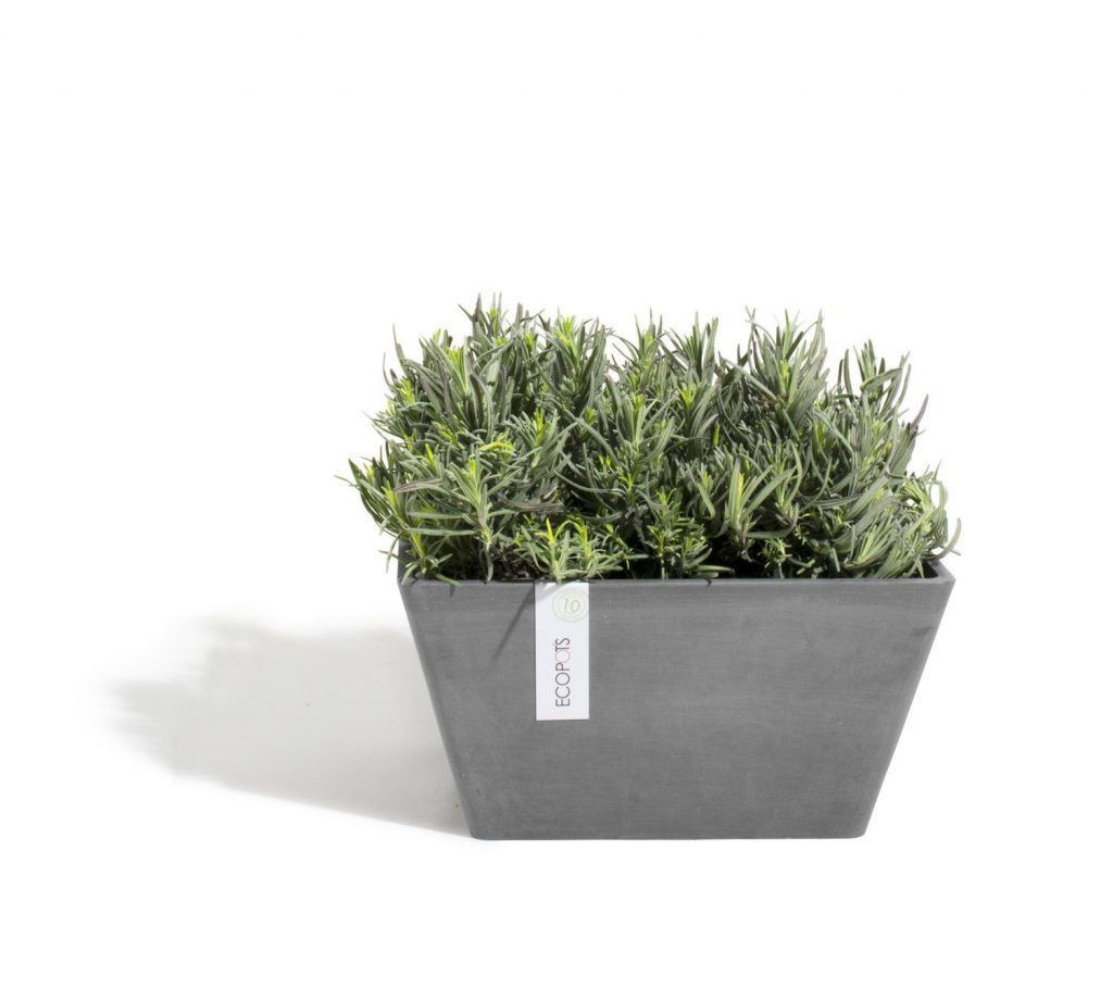 ECOPOTS Berlin low square planter Grey
