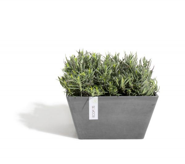 ECOPOTS Berlin low square planter Grey