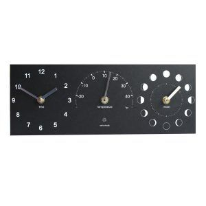 Moon, thermometer and time clock black
