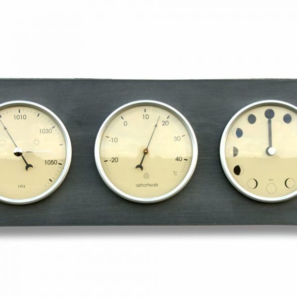 Moon, thermometer and barometer horizontal