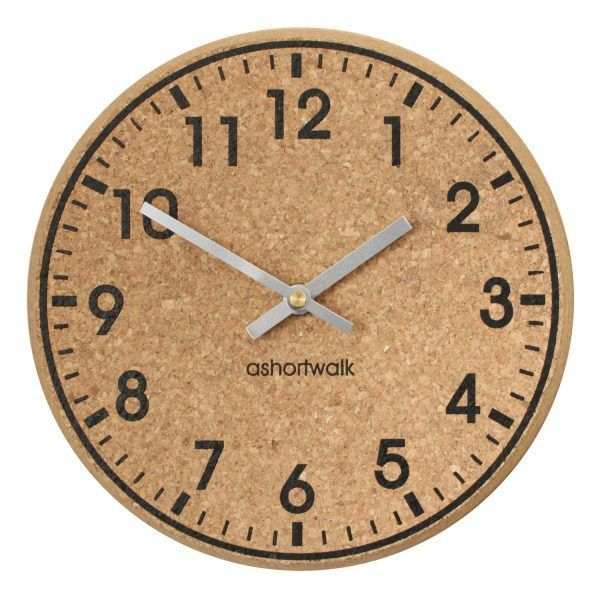 Chunky cork clock black and silver