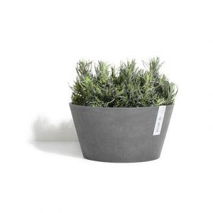 ECOPOTS Frankfurt low round planter Grey